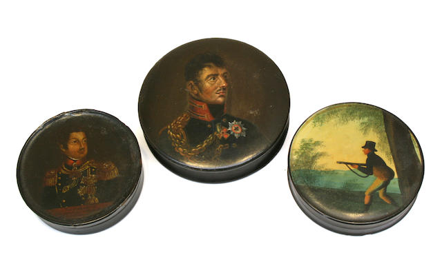 Three European painted papier-mâché snuff boxes second quarter 19th century