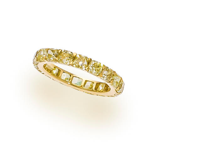 A colored diamond eternity band