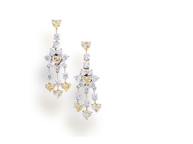 A pair of diamond and colored diamond pendant earrings, Tiffany & Co.