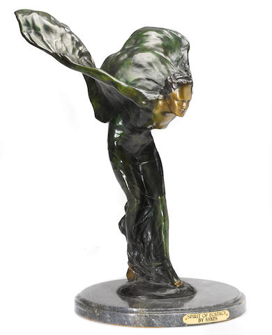 "A ""Spirit of Ecstasy"" cast bronze after a model by Charles Sykes,"