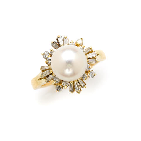 A cultured pearl, diamond and gold ring
