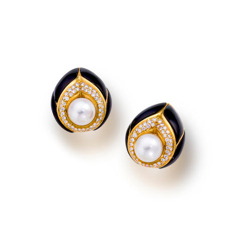 A  pair of cultured pearl, diamond and black onyx earclips, Elan