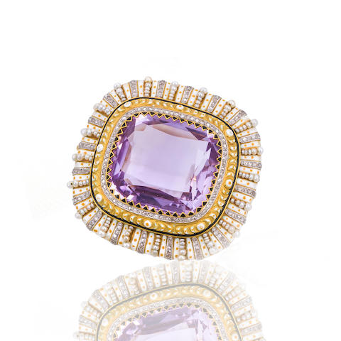 An antique amethyst, enamel and gem-set brooch,