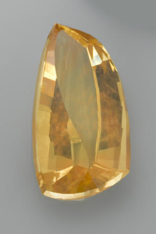 "Rare American Fantasy-cut Yellow Sunstone--""The Golden Drop of Sun""—A  Member of the 100 Carats Club"