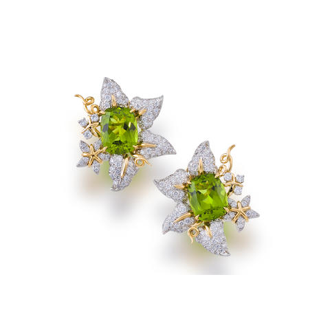 A pair of peridot and diamond earclips, Valentin Magro
