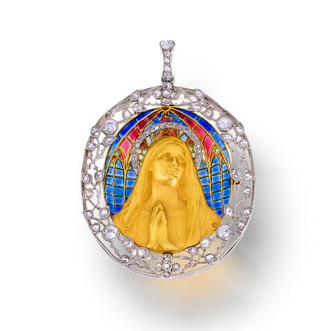 A belle époque enamel and diamond pendant, Cartier,