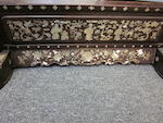 An embroidered silk and hardwood table screen with mother-of-pearl inlay 19th century