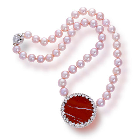 A cultured pearl, diamond and hardstone necklace, Paloma Picasso for Tiffany & Co.