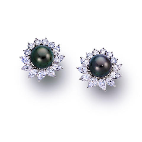 A pair of South Sea cultured pearl and diamond earclips, Tiffany & Co.