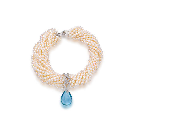 A cultured freshwater pearl, aquamarine and pearl necklace, Paloma Picasso for Tiffany & Co.