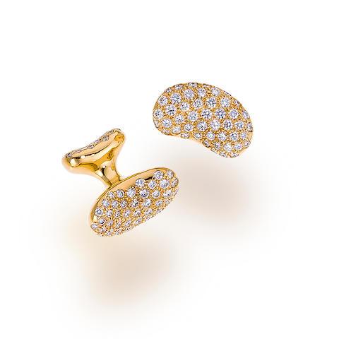 "A pair of diamond and eighteen karat gold ""Bean"" cufflinks, Elsa Peretti for Tiffany & Co."