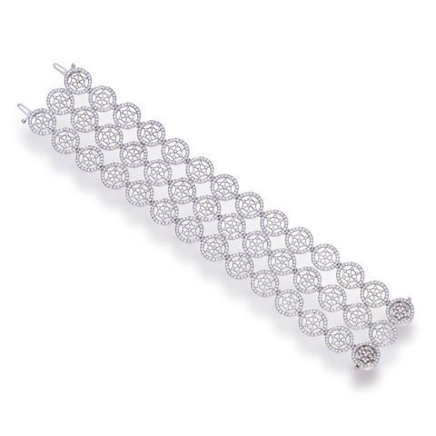 "A platinum and diamond ""Voile"" bracelet, Tiffany & Co."