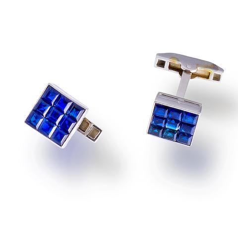 A pair of platinum and sapphire cufflinks, Van Cleef & Arpels