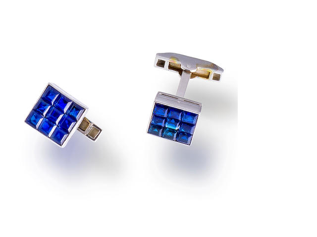 A pair of platinum and sapphire cufflinks, Van Cleef & Arpels