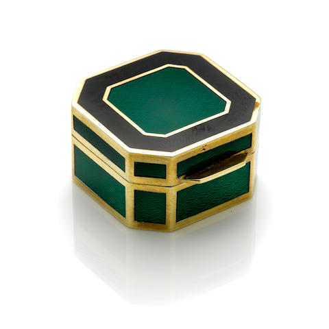 A gilt silver, enamel and enamel pill box