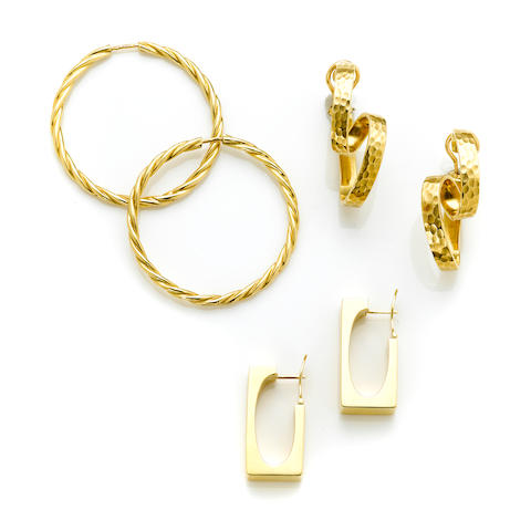 A pair of 18 karat gold 'cherub' earrings with heart shaped cubic zirconia; A pair of 18 karat gold twist hoops weight 7.6g; A pair of 18 karat gold ribbon earrings weight 20.9g; A pair of 18 karat gold rectangular earclips Made in Spain. weight 12.2g