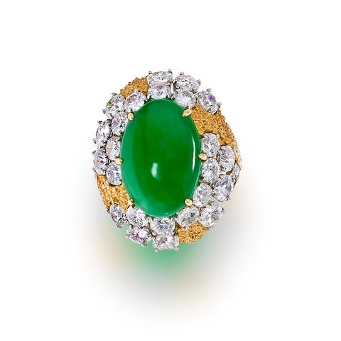 A jadeite jade and diamond ring, Ruser
