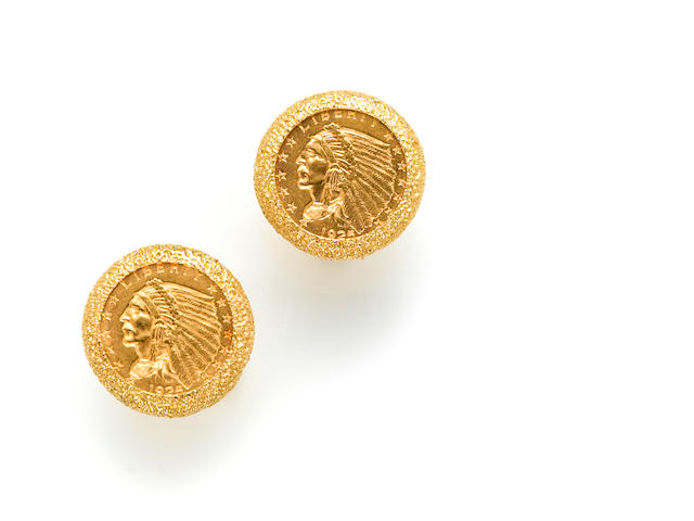 A pair of 14k gold and US 1925 $2 1/2 dollar coin cufflinks,