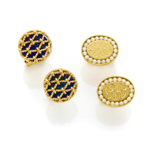 A collection of two pairs of 18 karat gold cuff links; one set with lapis lazuli, Tiffany & Co. one set with cultured pearls, Van Cleef & Arpels