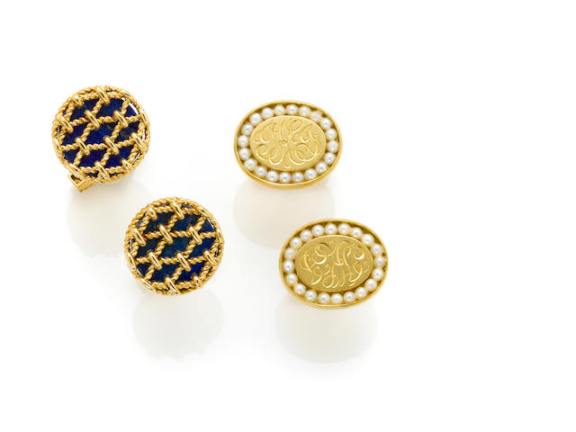 A pair of 18 karat gold and lapis lazuli cufflinks, Tiffany & Co. together with A pair of oval 18 karat gold and seed pearl cufflinks, Van Cleef & Arpels