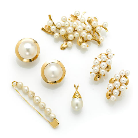 A cultured pearl and 14 karat gold foliate brooch Signed 'Mings'; A colored diamond, gold and south sea cultured pearl pendant (colored diamonds not tested for origin of color); A pair of gold ear wires with three pairs of jackets Including a pair of coral beads, a pair of jadeite beads and a pear of cultured pearls; A pair of cultured pearl cluster ear clips in 14 karat gold; A pair of mabé pearl and gold earrings