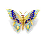An 18 karat gold plique-a-jour butterfly brooch With articulated wings, Spain.