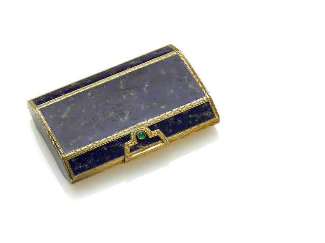 A gilt silver and lapis lazuli inlaid, chrysoprase box