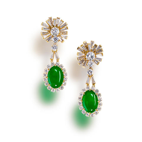 A pair of diamond and jadeite jade day/night pendant earrings
