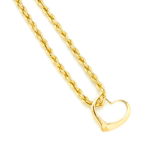 An 18k gold rope chain with a gold heart pendant