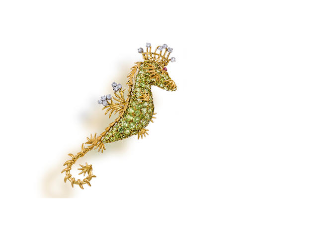 A peridot and diamond brooch, Jean Schlumberger for Tiffany & Co.,