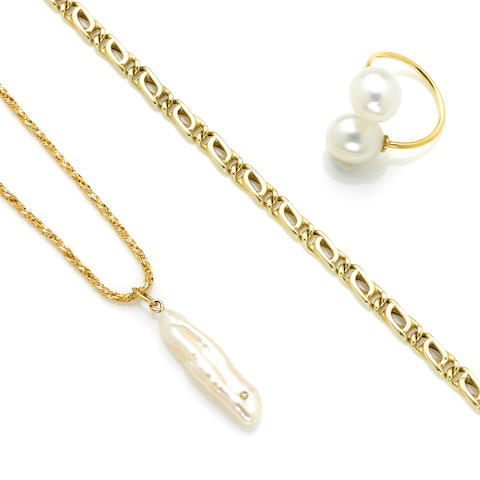 An 18 karat gold tinsel link chain with diamond set wing pearl length 32in; weight 12.8 grams; A South Sea cultured pearl gold bypass ring; A 14 karat gold Figaro link bracelet length 7 ½in; weight 5.1 grams