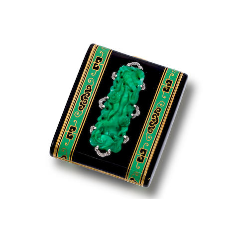 An art deco enamel, jadeite jade, and diamond case,