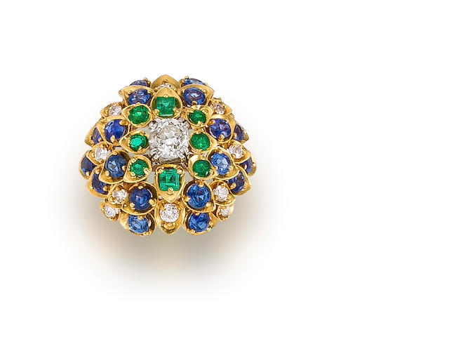 A diamond, sapphire and emerald dome ring, David Webb