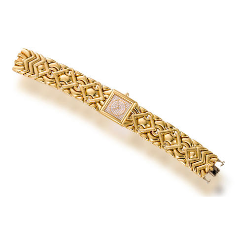 "An eighteen karat gold and diamond ""Tinka"" wristwatch, Bulgari"