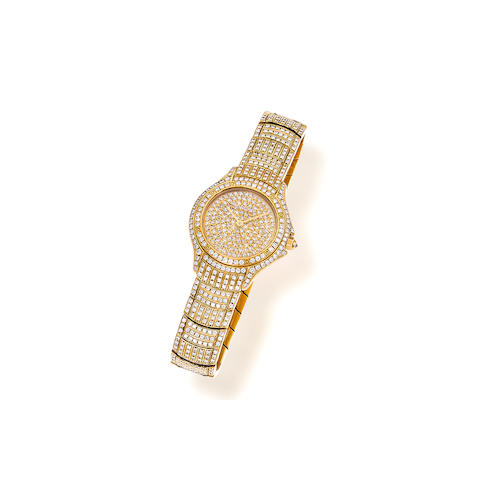 "A diamond and eighteen karat gold ""Cougar"" wristwatch, Cartier, French"
