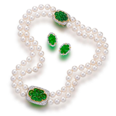 A cultured pearl, jadeite and diamond necklace and earclips