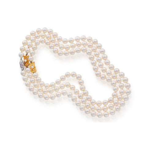 A set of two cultured pearl necklaces, Mikimoto
