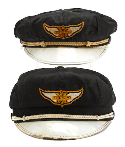 A His and Hers Harley-Davidson riding caps, c.1950,