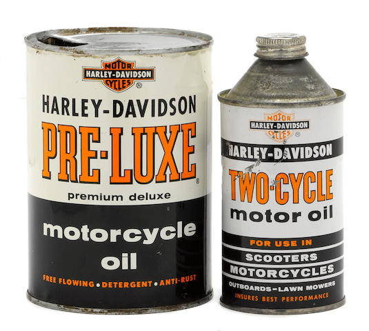 A pair of 1950s era Harley-Davidson oil cans,