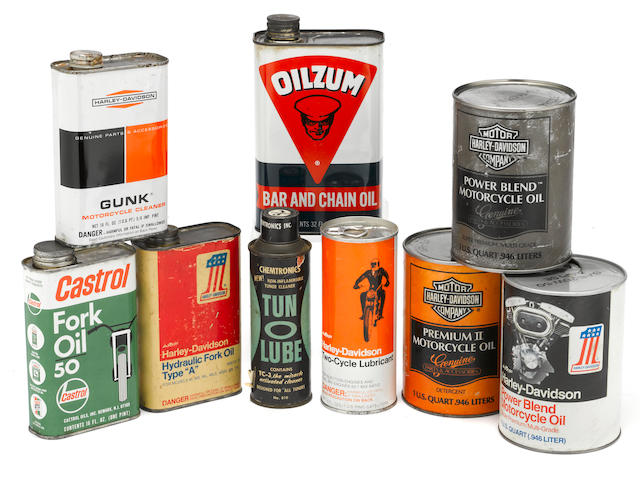 A collection of vintage cans mostly Harley-Davidsons,