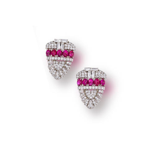 A pair of art deco ruby and diamond clip brooches,