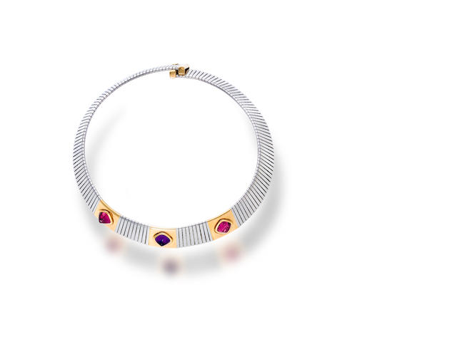 An eighteen karat bicolor gold and gem-set necklace, Bulgari