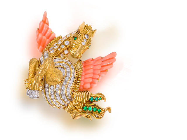 A diamond, coral, and emerald brooch