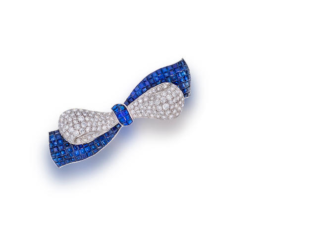 A sapphire and diamond bow brooch, Sophia D.