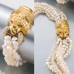 A freshwater cultured pearl and diamond necklace and bracelet, Cellino