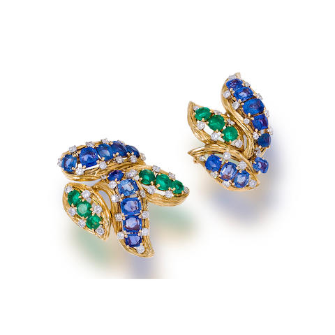 Two sapphire, emerald and diamond clip brooches