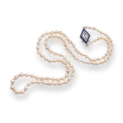 An art deco natural pearl, diamond, and sapphire necklace,