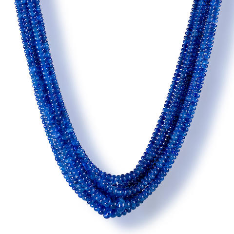A multi-strand sapphire bead necklace