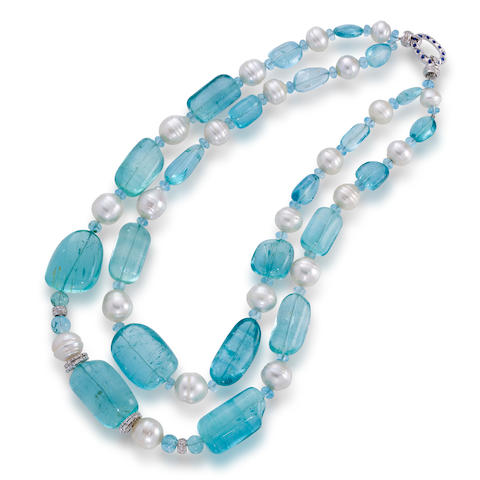 An aquamarine, cultured pearl and diamond necklace