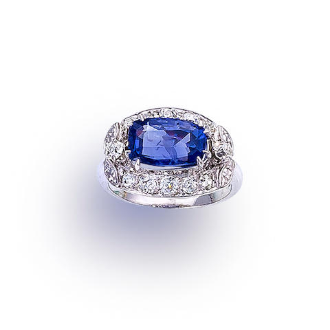 A color change sapphire and diamond ring